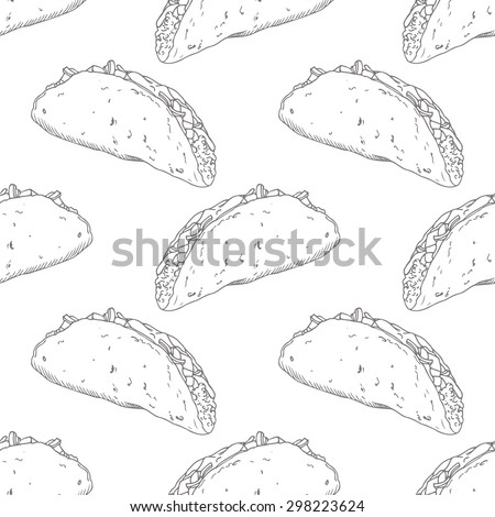 Seamless pattern with hand drawn taco. Sketched fast food vector illustration. Background for cafe, restaurant, eatery, diner, website or take away bag design