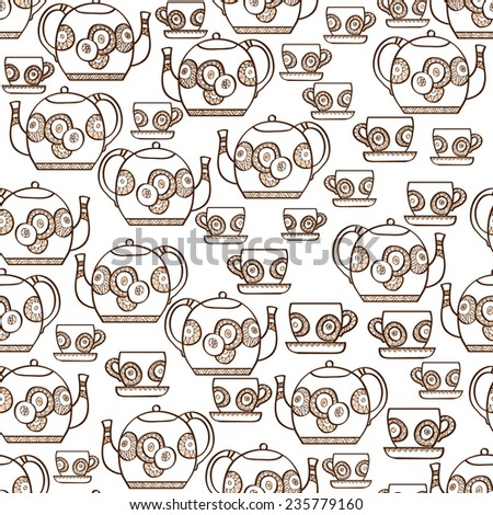 Seamless pattern with hand drawn teapots and cups on white background. Clipping mask is used, vector illustration. - stock vector