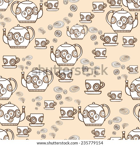 Seamless pattern with hand drawn teapots and cups with steam on beige background. Clipping mask is used, vector illustration. - stock vector
