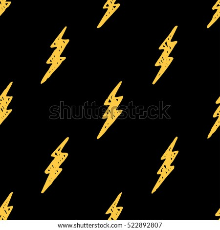 Seamless pattern with hand drawn thunderbolt