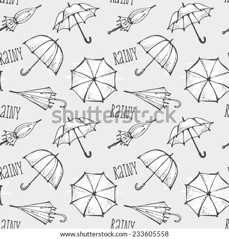 Seamless pattern with hand drawn umbrellas, rainy background - stock vector