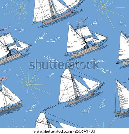 Seamless pattern with hand drawn vintage boats, silhouettes of sun and gulls on blue background - stock vector