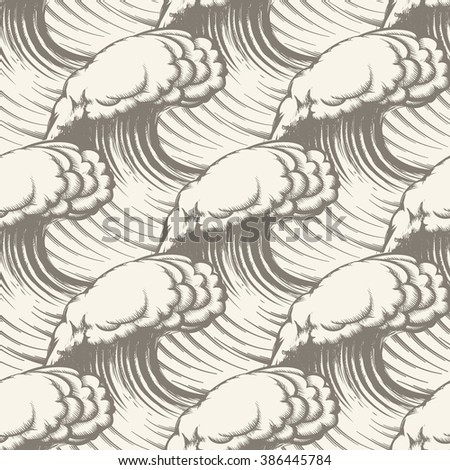 Seamless pattern with hand drawn waves.   - stock vector