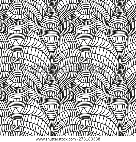 Seamless pattern with hand-drawn waves and lines in black and white colors - stock vector