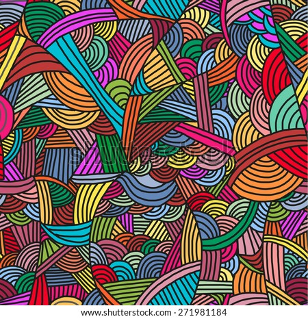 Seamless pattern with hand-drawn waves in bright colors. - stock vector