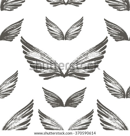 Seamless pattern with hand drawn wings. Hand drawn dry brush image. Ornament for wrapping paper. Hand drawn ornate background. - stock vector