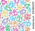 seamless pattern with hand drawn zodiac signs - stock vector