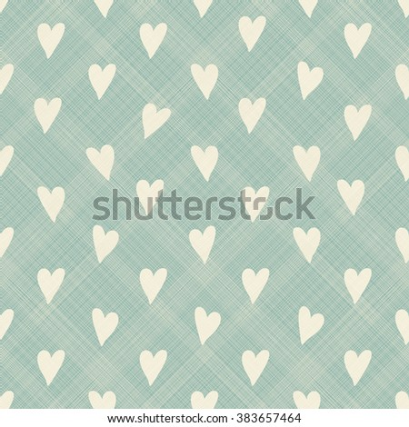 seamless pattern with hand drown beige hearts on turquoise diagonal texture background - stock vector