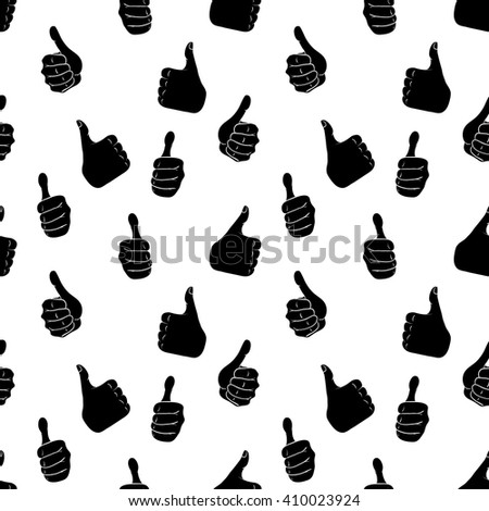 Seamless pattern with hand gestures in comic cartoon style. Vector illustration of human hands showing thumbs up.