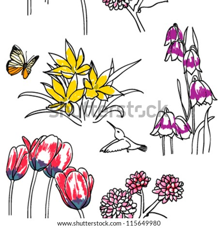 seamless pattern with Hand-painted flowers . vector - stock vector