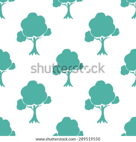 Seamless pattern with hand painted water-colour trees .