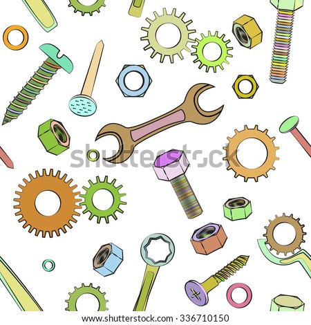 Seamless pattern with hand tools on white background. - stock vector