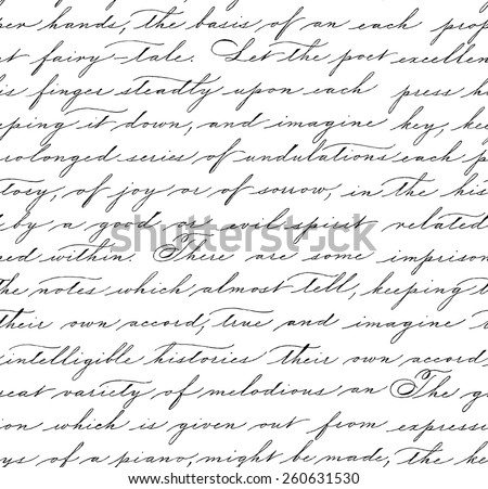 Seamless pattern with handwriting text. Calligraphy. Text background. Spencerian style. - stock vector