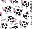 Seamless pattern with happy cute cow - stock vector