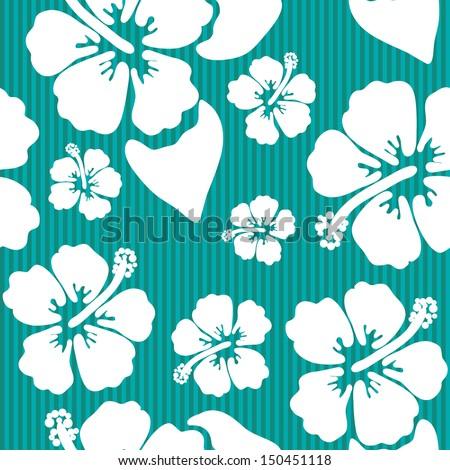 Seamless pattern with hawaiian hibiscus flower - stock vector