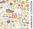 seamless pattern with healthy lifestyle icons - stock photo