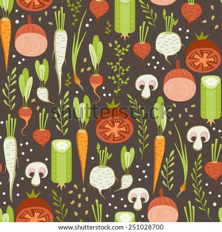 seamless pattern with healthy vegetable on dark background - stock vector