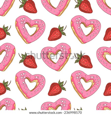 Seamless pattern with heart-shaped donuts and strawberries. Heart-shaped donuts with pink glaze and red strawberries on a white background. - stock vector