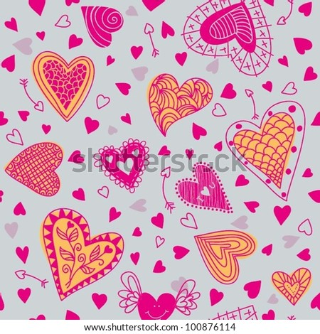 Seamless Pattern with Hearts - stock vector