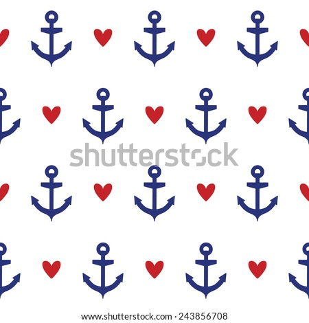 Seamless pattern with hearts and anchor. Can be used for wallpapers, web page backgrounds. Vector illustration - stock vector