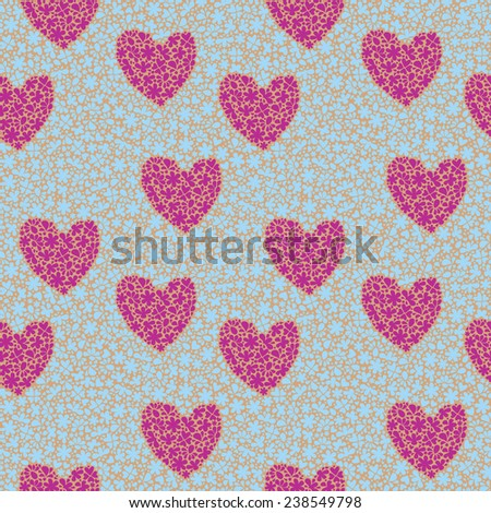 Seamless pattern with hearts and flowers. Vector illustration.
