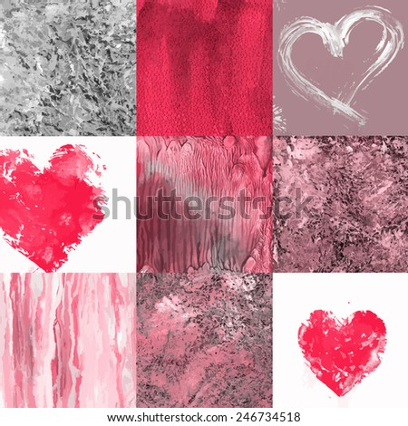 Seamless pattern with hearts and grunge background parts - stock vector