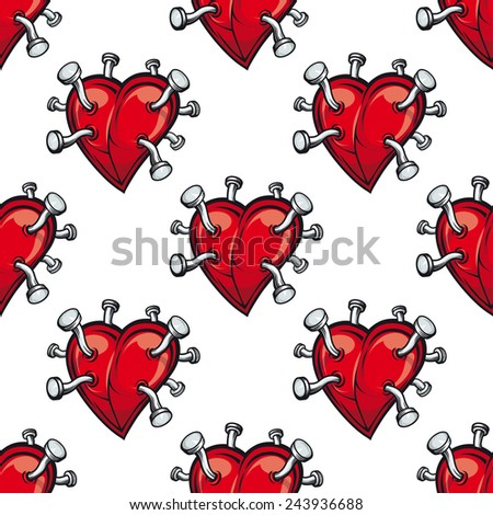 Seamless pattern with hearts and hammered nails for love concept design - stock vector
