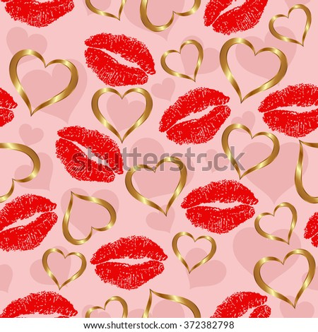 seamless pattern with hearts and lipstick - stock vector