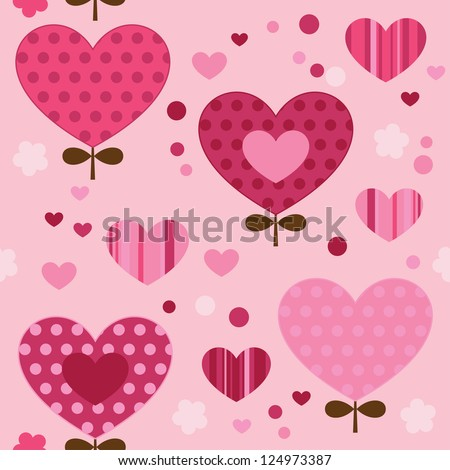 Seamless pattern with, hearts, flowers. Cute seamless.