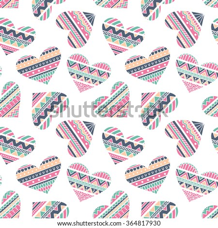 Seamless Pattern with Hearts in Ethnic Style, hand drawn vector illustration, can be used for wallpaper, web page background, greeting cards, fabric print