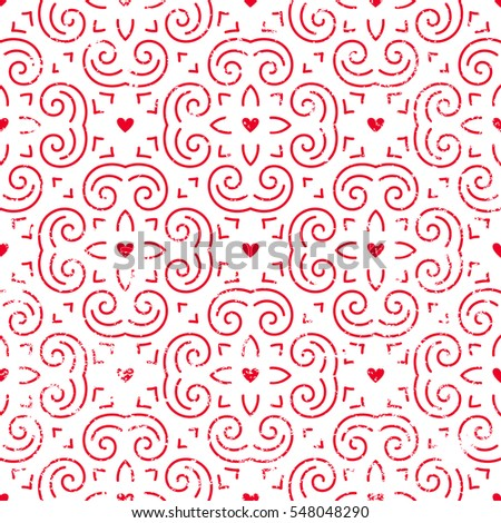 Seamless pattern with hearts in red. Retro background for Valentines Day, wedding, etc. EPS10 vector illustration