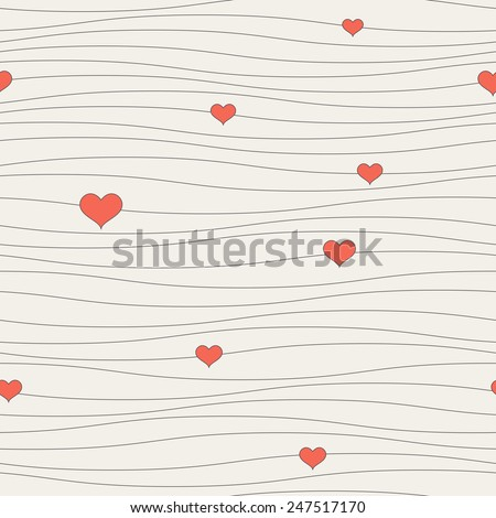 Seamless pattern with hearts on the ropes. Romantic texture. Repeating background. Cute texture for St. Valentine's Day - stock vector