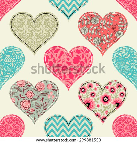 seamless pattern with hearts. patchwork. - stock vector