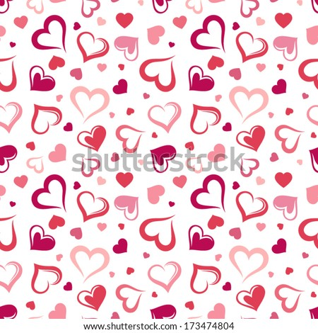 Seamless pattern with hearts. Vector illustration. - stock vector