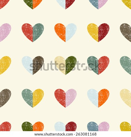 Seamless pattern with hearts. Vector illustration. Grunge effect can be cleaned easily. - stock vector