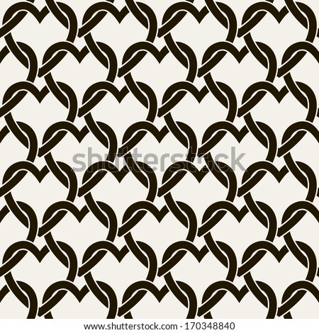 Seamless pattern with hearts. Vector repeating texture. Geometric entwined hearts - stock vector
