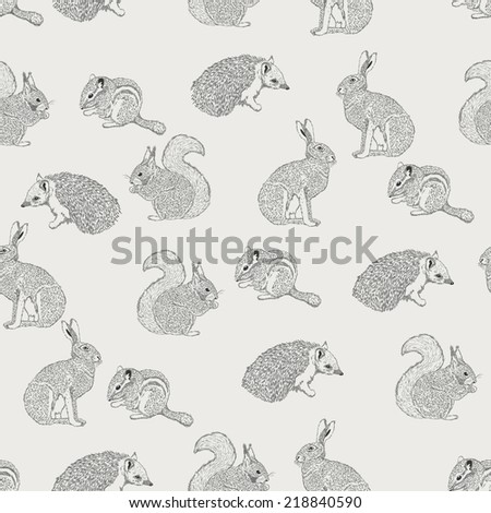 Seamless pattern with hedgehog, squirrel, hare, rabbit, squirrel, animals on light background in vintage style. Background for fabric, scrapbooking, greeting cards in hipster style. Hand drawing.  - stock vector