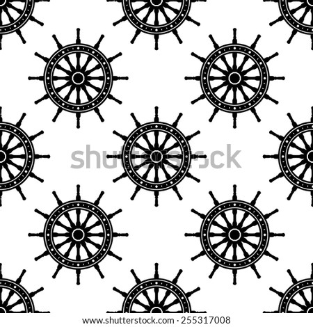 Seamless pattern with helms for adventure, navigation or naval design - stock vector