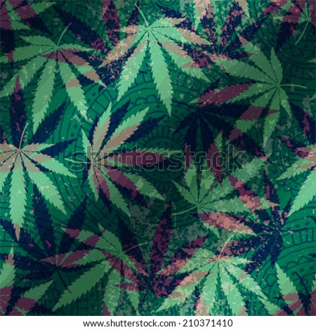 Seamless pattern with hemp leaves. - stock vector