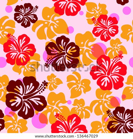 Seamless Pattern With Hibiscus Flower Background Hawaiian