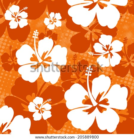 Seamless pattern with Hibiscus flowers on orange background, vector illustration