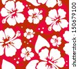 Seamless pattern with Hibiscus flowers. Vector illustration. - stock vector