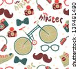Seamless pattern with hipster accessories. - stock photo