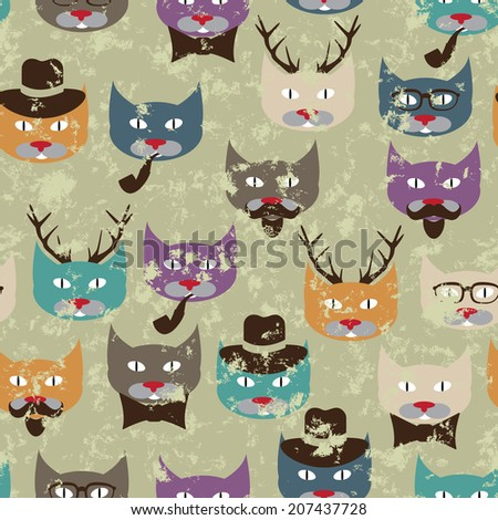 Seamless pattern with hipster cats