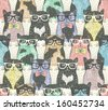 Seamless pattern with hipster cute cats for children - stock