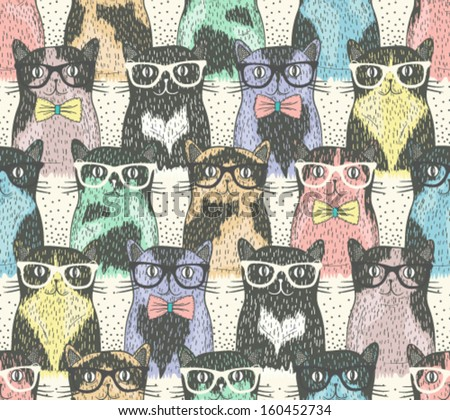 Seamless pattern with hipster cute cats for children - stock vector