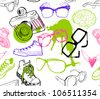 Seamless pattern with hipster fashion accessories: sunglasses, camera, sneakers. - stock vector