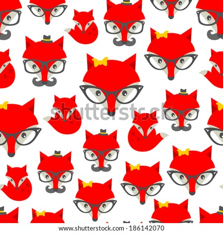 Seamless pattern with hipster fox. Vector background with cute animals in retro style. - stock vector