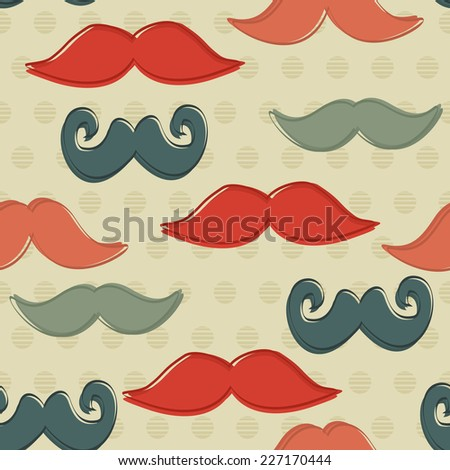 Seamless Pattern with Hipster Mustaches. Vector Background - stock vector