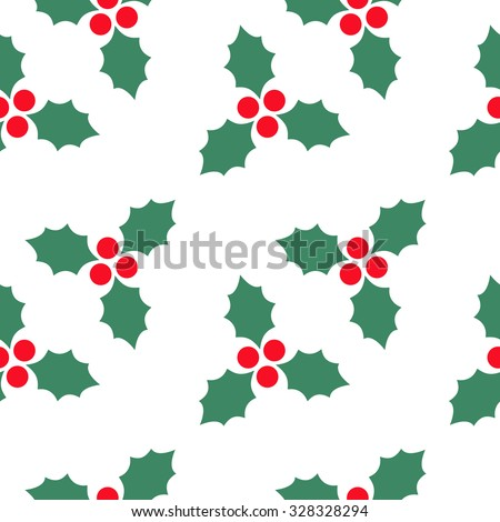 seamless pattern with holly berry  - stock vector